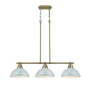 Golden Lighting Duncan 3-Light Linear Pendant Light with Shades - Brass