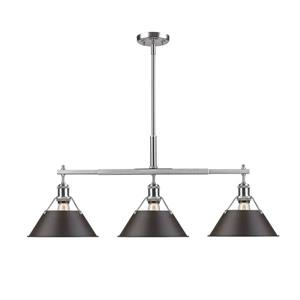 Golden Lighting Orwell Linear Pendant Light with Shade - Pewter