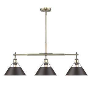 Golden Lighting Orwell Linear Pendant Light with Shade - Aged Brass