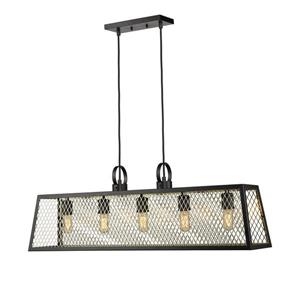 Golden Lighting Abbott Linear Pendant Light with Panels - Black