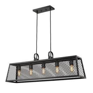 Golden Lighting Abbott Linear Pendant Light with Panels - Black