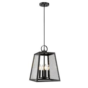 Golden Lighting Abbott 4-Light Pendant Light with Panels - Black