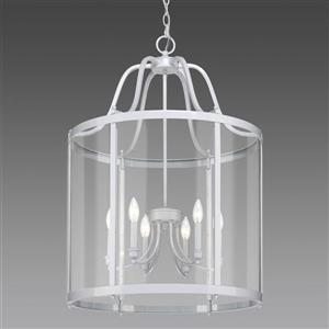 Golden Lighting Payton 6-Light Pendant Light with Clear Glass - White