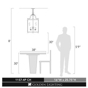 Golden Lighting Payton 4-Light Pendant Light with Clear Glass - Chrome