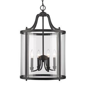 Golden Lighting Payton 4-Light Pendant Light with Clear Glass - Black