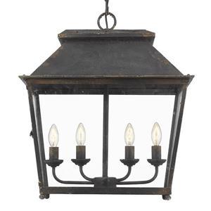 Golden Lighting Abingdon 4-Light Pendant Light - Antique Black Iron