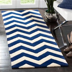 Chatham Chevron Rug - 2.3' x 5' - Wool - Dark Blue