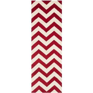 Chatham Chevron Rug - 2.3' x 5' - Wool - Red