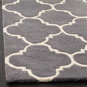 Chatham Geometric Rug - 2.3' x 7' - Wool - Gray