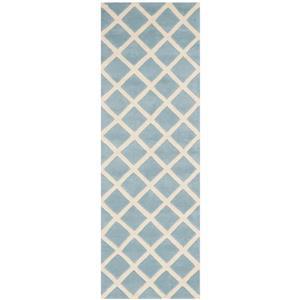 Chatham Geometric Rug - 2.3' x 7' - Wool - Light Blue