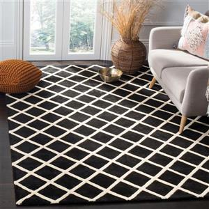Chatham Geometric Rug - 2' x 3' - Wool - Black