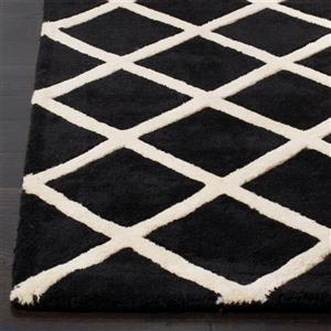 Chatham Geometric Rug - 2.3' x 7' - Wool - Black