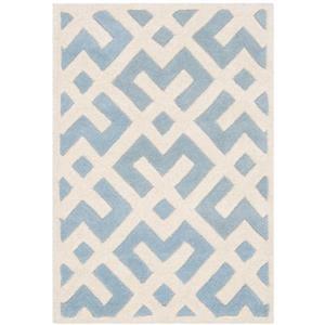Chatham Geometric Rug - 2' x 3' - Wool - Light Blue