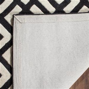 Chatham Geometric Rug - 2' x 3' - Wool - Ivory/Black