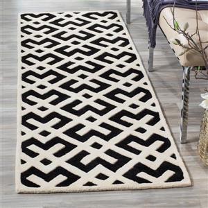 Chatham Geometric Rug - 2.3' x 7' - Wool - Ivory/Black