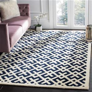 Chatham Geometric Rug - 2' x 3' - Wool - Dark Blue