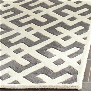 Chatham Geometric Rug - 3' x 5' - Wool - Dark Gray