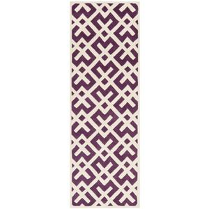 Chatham Geometric Rug - 2.3' x 7' - Wool - Purple