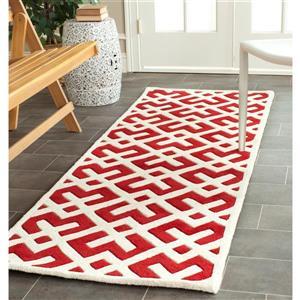 Chatham Geometric Rug - 2.3' x 7' - Wool - Red