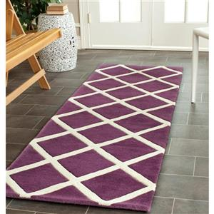 Chatham Geometric Rug - 2.3' x 7' - Wool - Purple