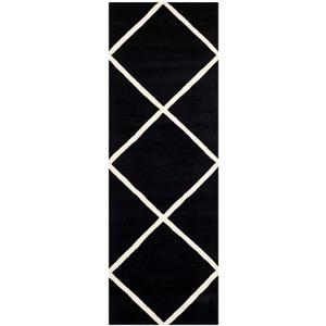 Chatham Geometric Rug - 2.3' x 7' - Wool - Black