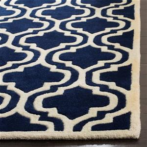 Chatham Geometric Rug - 3' x 5' - Wool - Dark Blue
