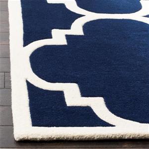 Chatham Trellis Rug - 2.3' x 7' - Wool - Dark Blue