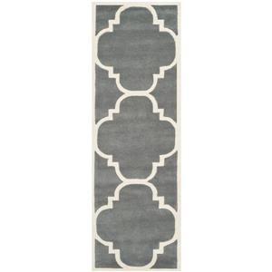 Chatham Trellis Rug - 2.3' x 7' - Wool - Gray
