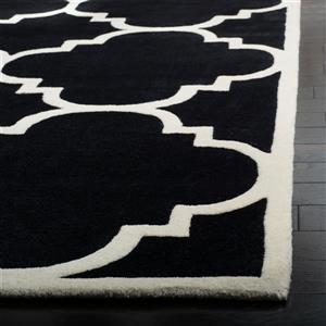 Chatham Trellis Rug - 2.3' x 7' - Wool - Black
