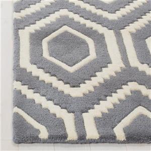 Chatham Geometric Rug - 2.3' x 5' - Wool - Gray