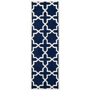 Chatham Geometric Rug - 2.3' x 7' - Wool - Dark Blue