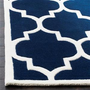Chatham Trellis Rug - 2.3' x 7' - Wool - Dark Blue