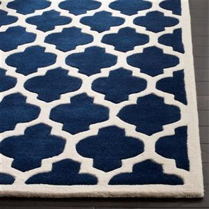 Chatham Trellis Rug - 3' x 5' - Wool - Dark Blue