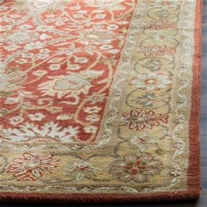 Antiquity Floral Rug - 2.3' x 8' - Wool - Orange