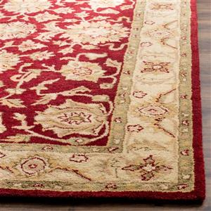 Antiquity Floral Rug - 3.5' x 3.5' - Wool - Red