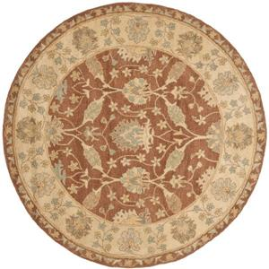 Antiquity Floral Rug - 3.5' x 3.5' - Wool - Brown