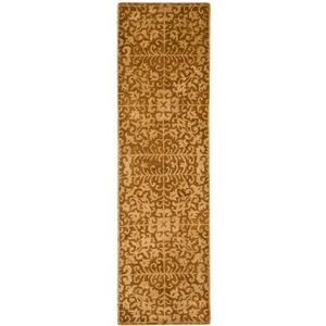 Antiquity Floral Rug - 2.3' x 8' - Wool - Gold