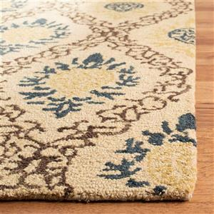 Antiquity Floral Rug - 2.3' x 8' - Wool - Light Gold