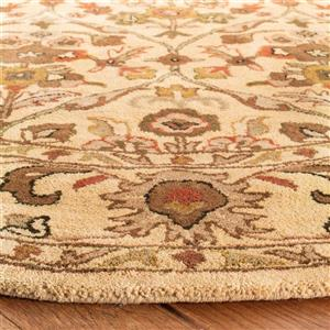 Antiquity Floral Rug - 3.5' x 3.5' - Wool - Gold