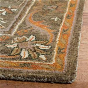 Antiquity Floral Rug - 2.3' x 8' - Wool - Green