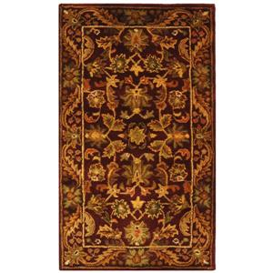 Antiquity Floral Rug - 2.3' x 8' - Wool - Burgundy