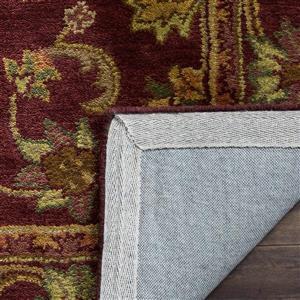 Antiquity Floral Rug - 3.5' x 3.5' - Wool - Burgundy