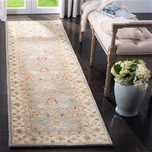 Antiquity Floral Rug - 2.3' x 6' - Wool - Gray