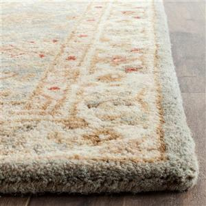 Antiquity Floral Rug - 2.3' x 8' - Wool - Gray