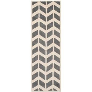 "Chatham Geometric Rug - 2' 3"" x 7' - Grey/Ivory"