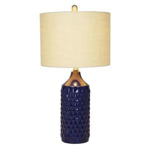 Cresswell Quilted Ceramic Base Table Lamp - Navy Blue