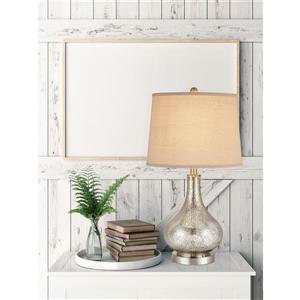 """Cresswell Silver Mercury Glass Finish Table Lamp - 24"""""""