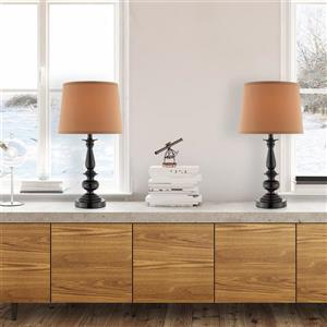 Cresswell Oil Rubbed Bronze and Beige Table Lamp (2 Pack)