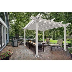 "New England Arbors Preston Round-Post Louvered Pergola - 121""x121""x97"""