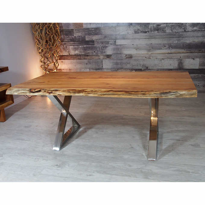 Acacia Live Edge Dining Table With Black Rocket Legs 96
